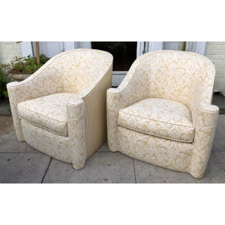 Rare Vintage Art Deco Barrel Club Chairs W Fortuny & Jay Robert Scott Fabric - a Pair Preview
