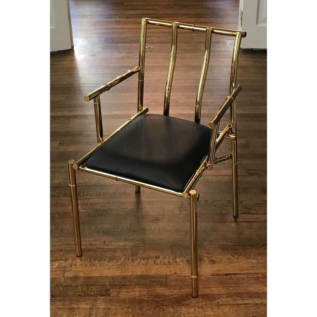 Unique artistic Heavy Gold metal Bamboo Black Sculpture Chair. This was custom designed for a boutique hotel. This is an...