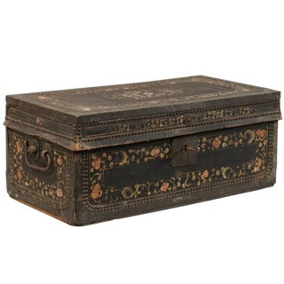 19th Century Chinese Camphor Wood and Leather Trunk With Hand-Painted Flowers For Sale