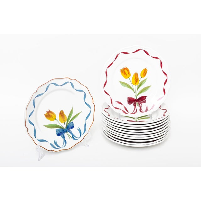 Early 21st Century Este Ceramiche Italy Tulip Bouquet Dinner Buffet Plates - Set of 12 For Sale - Image 5 of 5