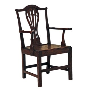 1790s English Country Oak Armchair For Sale
