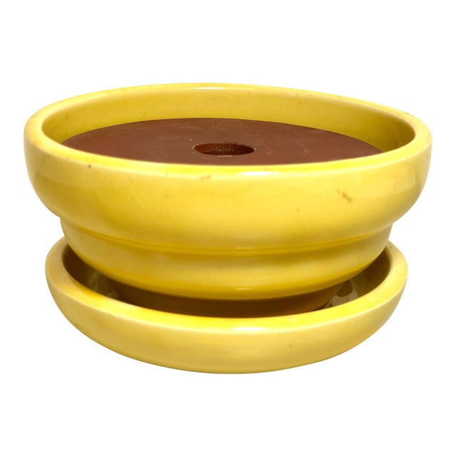 """McCoy Pottery 1940s - 1960s Medium """"Yellow"""" Mid-Century Flowerpot and Saucer For Sale"""