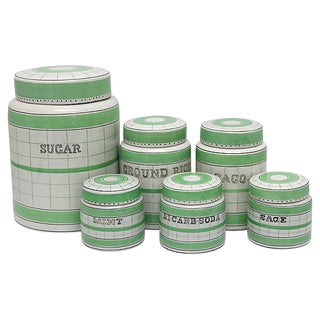 1930s English Kitchen Canisters - Set of 6