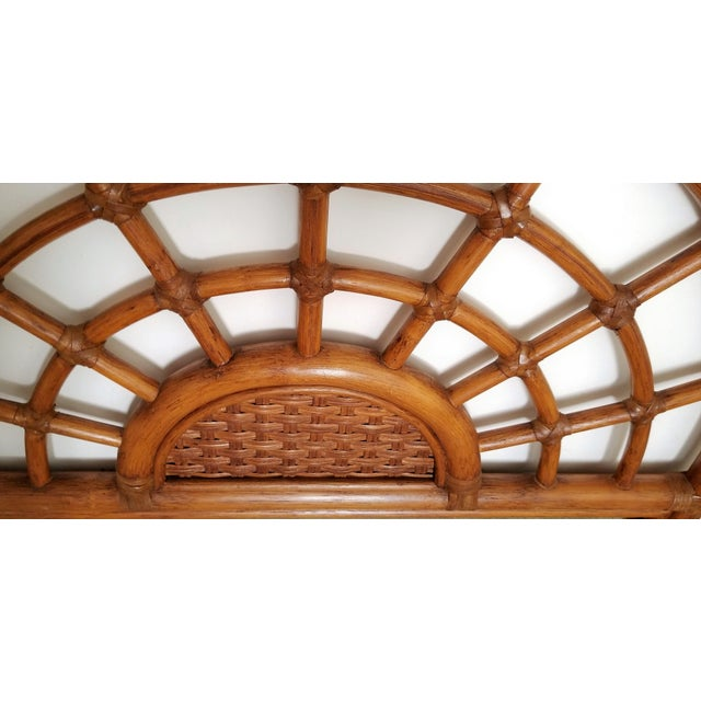 1960s Rattan & Wicker Wall Mirror - Tropical Coastal Palm Beach Boho Chic Mid Century Modern Bamboo Tree For Sale In Miami - Image 6 of 12