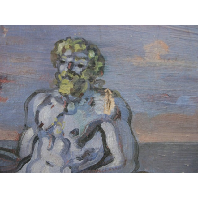 """Blue 1934 """"Neptune at Shore"""" Oil on Canvas Painting by William Littlefield For Sale - Image 8 of 9"""