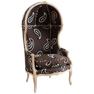 French Louis XV Style Upholstered Canopy Porters Chair For Sale