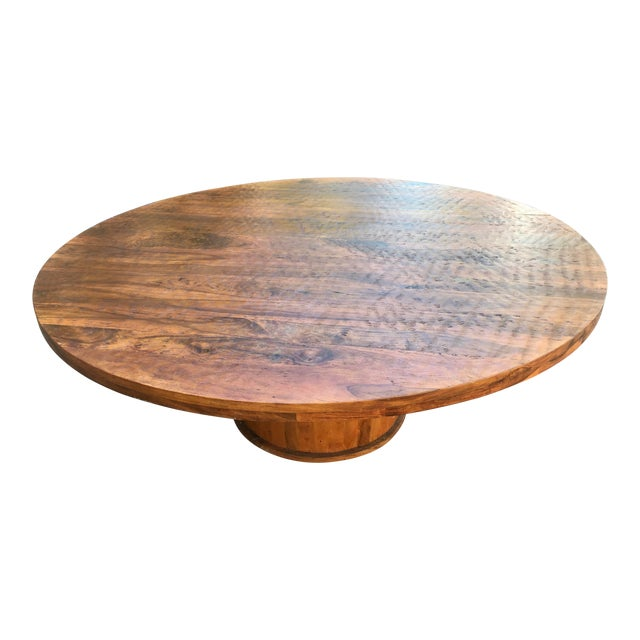 . Large Round Dining Table on Pedestal
