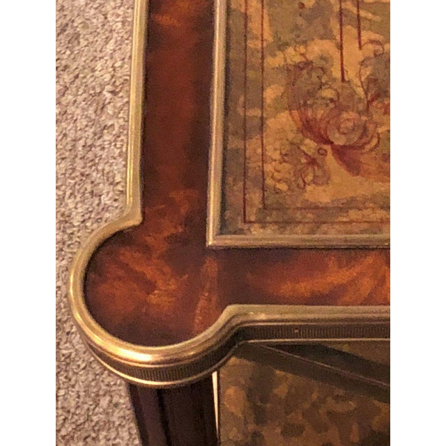 Hollywood Regency Bronze Decorated End Table X-Base Sides Tortoise Glass Top - Image 6 of 11