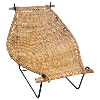 John Risley 'Duyan' Rattan and Iron Sling Chair For Sale