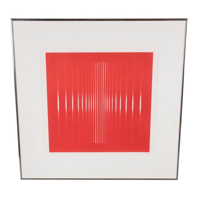 Dynamic Mid-Century Modern Op-Art Signed Serigraph by Ennio Finzi in Vibrant Red For Sale