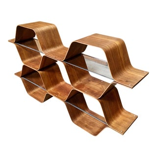 "Mid-Century Modern Bill Curry Bentwood ""Honeycomb"" Bookcase For Sale"