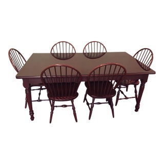 1990s Custom Springhill Furniture Solid Cherry Table & Chairs - Set of 7