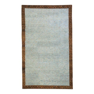 """Momeni Desert Gabbeh Hand Knotted Slate Wool Area Rug - 3'9"""" X 5'9"""" For Sale"""
