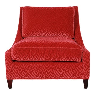 Baker Furniture Lounge Chair in Red Velvet Upholstery For Sale