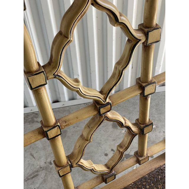 Goldenrod Vintage Bamboo Fretwork Armchair For Sale - Image 8 of 11