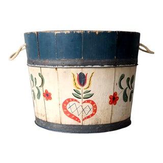 Antique Folk Art Wooden Sap Bucket For Sale