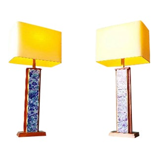 Mid-Century Modern Harris Strong Blue Tile and Walnut Lamps - a Pair For Sale