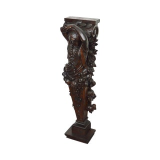 Antique 19th Century Carved Oak Goddess Pedestal Statue For Sale