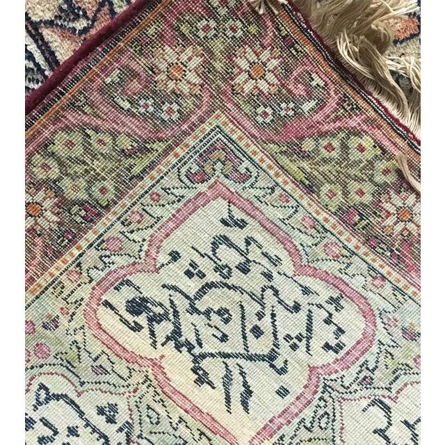 Pink Antique Persian Kerman Rug - 7′1″ × 10′6″ For Sale - Image 8 of 11