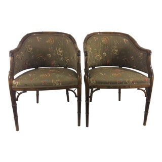 French 1930's Faux Bamboo Chairs with Embroidered Upholstery - A Pair