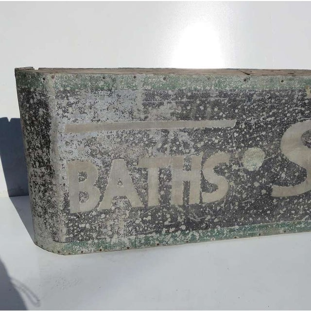 A wonderful and charming sign, with overall natural fading and paint loss. A perfect decorative for any bath! The sign is...