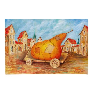 """2012 Vlad Pronkin Original """"Big Pear in an Old City"""" Surrealist Painting, Signed For Sale"""