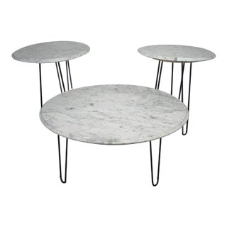 Vintage Mid Century White Marble Hairpin Leg Tables - Set of 3 For Sale