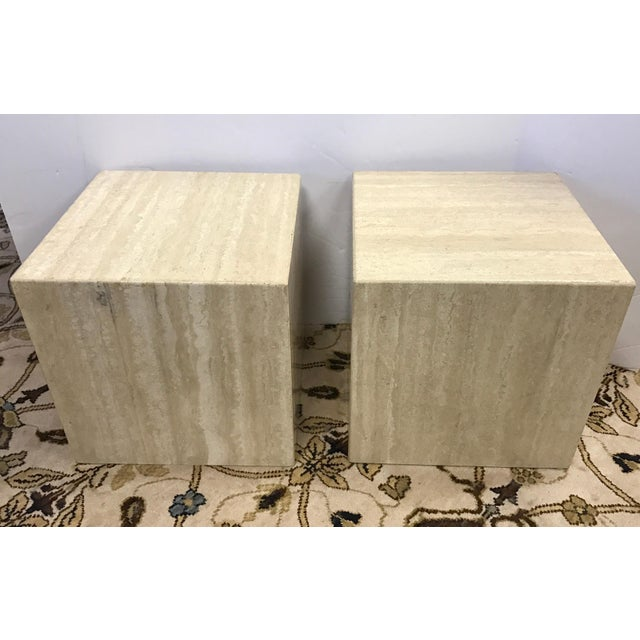 Minimalist pair of Italian travertine tables which can be multi-purposed in your home.