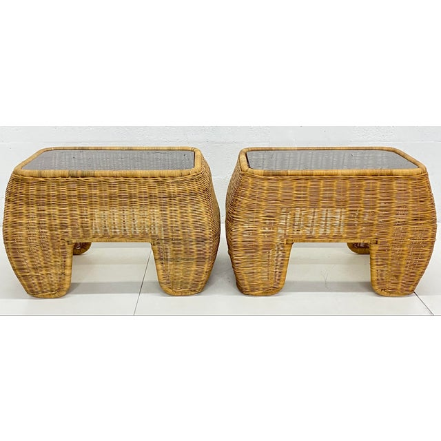 Mid-Century Modern Hand Made Sculptural Wicker Rattan Side Tables - a Pair For Sale - Image 13 of 13