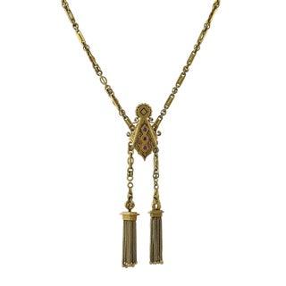Victorian 14k Gold Garnet Tassel Necklace For Sale