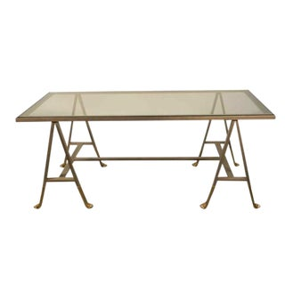 A 1940's Gunmetal Trestle Coffee Table on Gilt Bronze Claw Feet For Sale