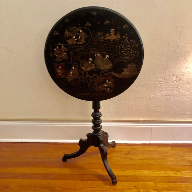 Antique Black Tilt Top Table With Painted Gold Chinoiserie Scene For Sale - Image 13 of 13