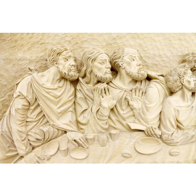 """1970s """"The Last Supper"""" Wood Carving Relief Masterpiece by Emrich Mussner, 1976 For Sale - Image 5 of 11"""