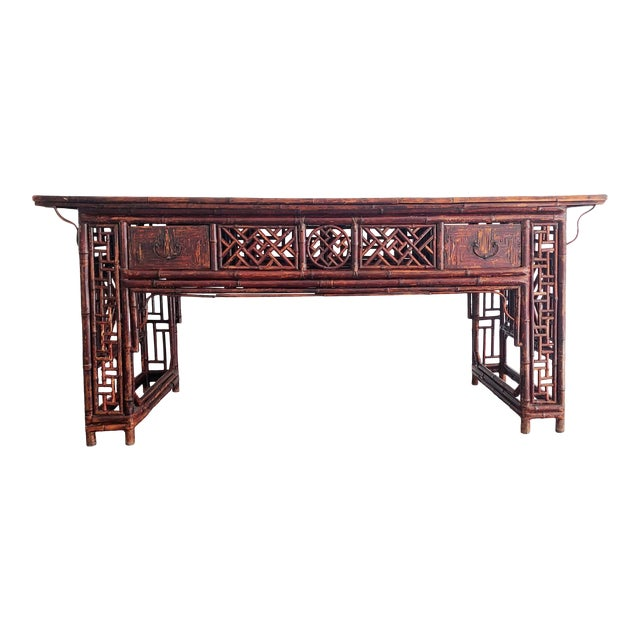 Antique Chinese Chippendale Frettwork Altar Console Table For Sale