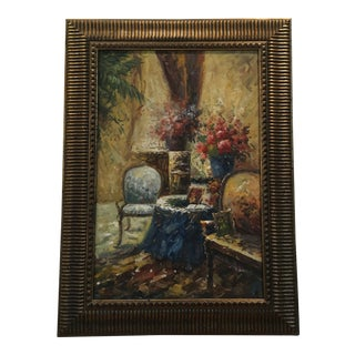 Vintage French Oil on Canvas Interior Salon Expressionist Fine Art Painting For Sale