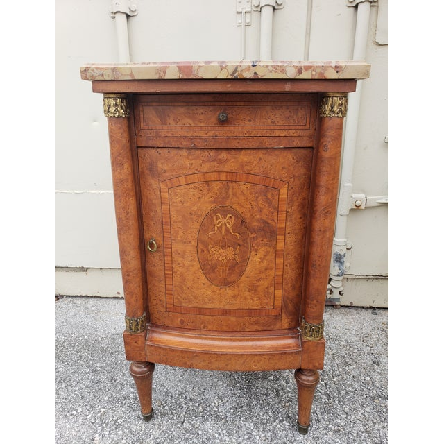 Late 19th Century 19th Century Empire Burl Walnut Marquetry Marble Top Antique Bedside Cabinet or Side Table For Sale - Image 5 of 13