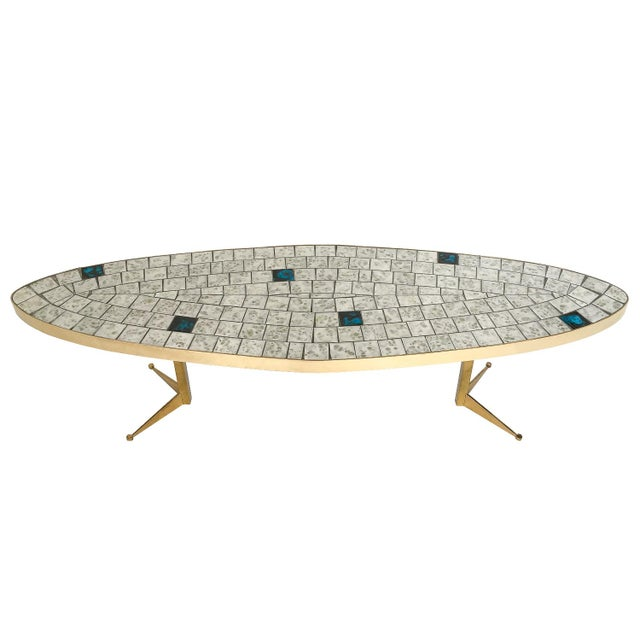 Italian Brass Tiled Top Surfboard Coffee Table For Sale - Image 13 of 13