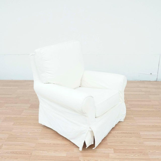 Contemporary Pottery Barn White Upholstered Rocker Chair For Sale - Image 3 of 13
