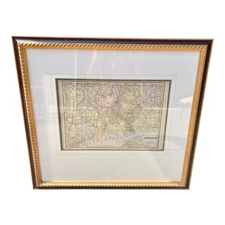 Custom Framed Connecticut Map For Sale