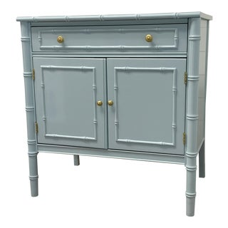 Vintage Thomasville Faux Bamboo Cabinet/Bachelor's Chest Lacquered Blue Gray For Sale