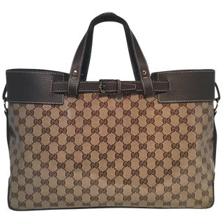 Gucci Coated Monogram and Leather Buckled Portfolio Tote For Sale