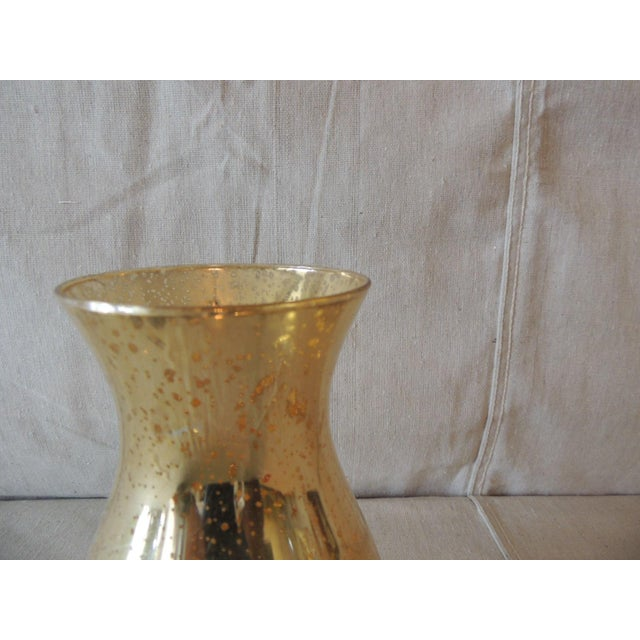 Boho Chic Vintage Gold Speckle Mercury Glass Vase With Organic Shape For Sale - Image 3 of 5