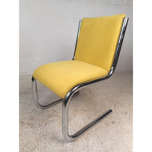 Midcentury Chrome Cantilevered Chairs, Set of 4 For Sale - Image 4 of 13