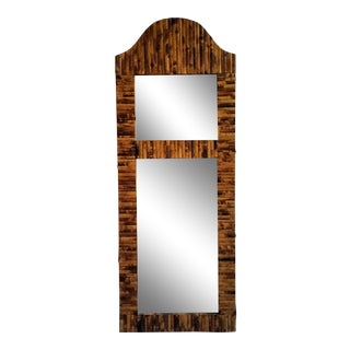 Antique Split Bamboo Reed Wall Mirror For Sale
