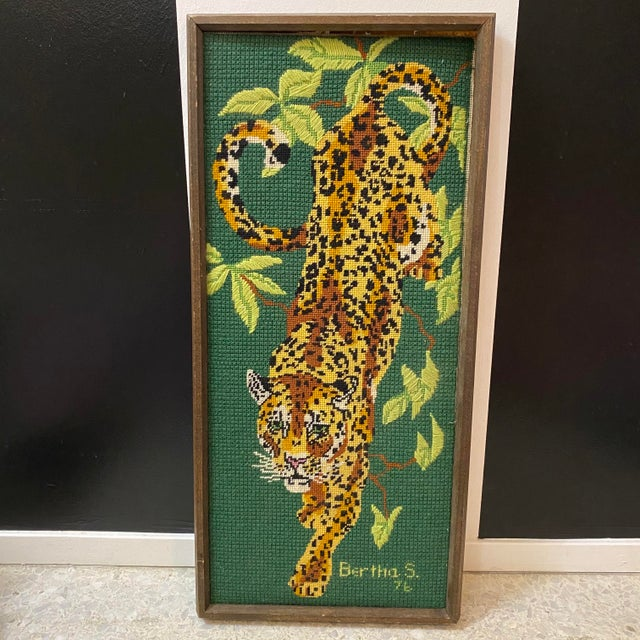 Vintage Mid Century Modern Cross Stitched Leopard Art Deep green Jungle background with a prowling leopard.... Signed...