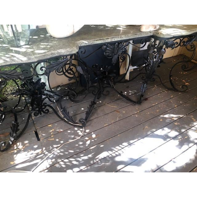 Large Antique French Marble Top Console Table Iron Base For Sale In West Palm - Image 6 of 10