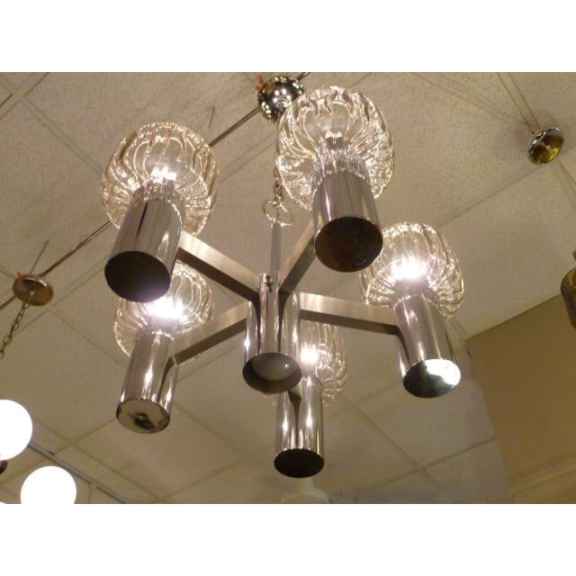 Chrome Five Globe Nickel Lightolier Mid Century Chandelier For Sale - Image 7 of 9