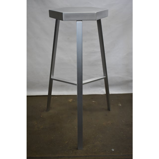 Contemporary Modern Aluminum Bar Stool For Sale - Image 3 of 5