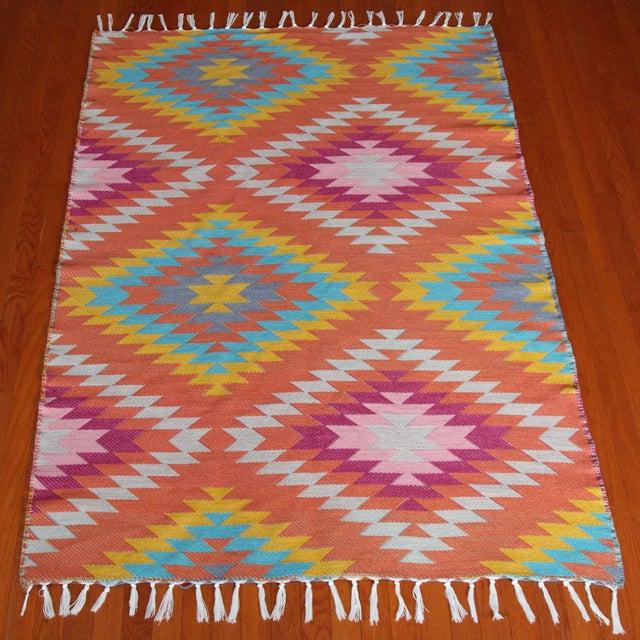 Rainbow Flat Weave Diamond Turkish Wool Kilim Rug - 4' x 6' - Image 4 of 12