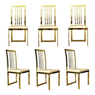 1970s Milo Baughman for Design Institute of America Brass Dining Chairs – Set of 6 For Sale